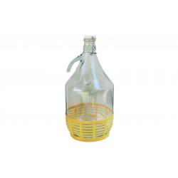 Balon szklany, dymion 5 L w koszu plastikowym DAMA